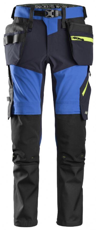 Snickers 6940 FlexiWork Softshell Stretch Work Trousers Holster Pockets (True Blue / Navy)